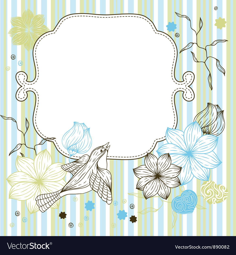 Stylish floral background hand drawn retro flowers vector | Price: 1 Credit (USD $1)