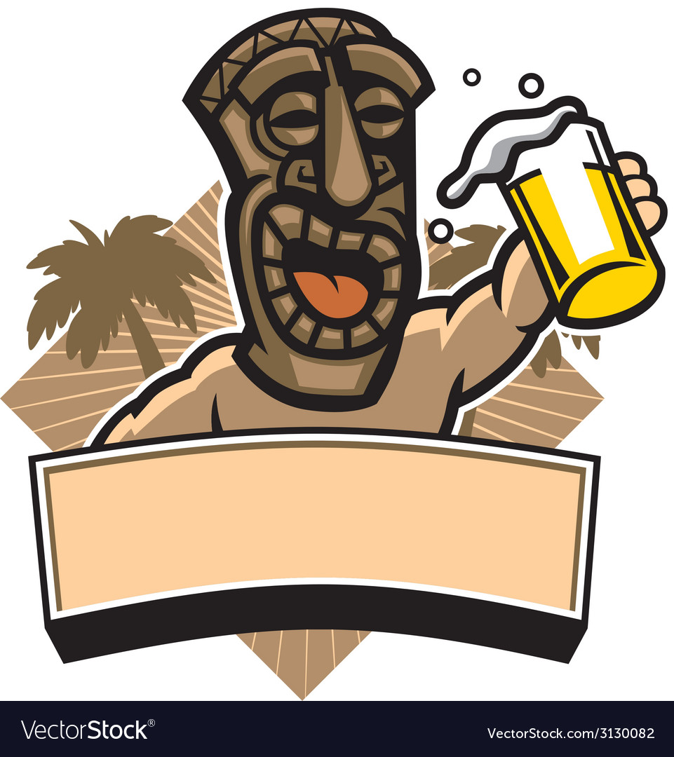 Tiki hold a glass of beer vector | Price: 1 Credit (USD $1)