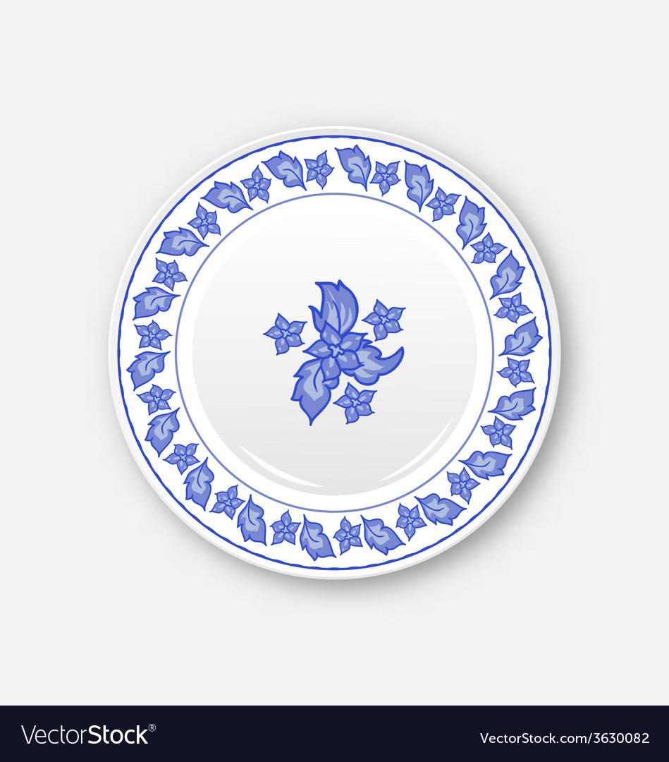 White plate with hand drawn floral ornament bezel vector | Price: 1 Credit (USD $1)