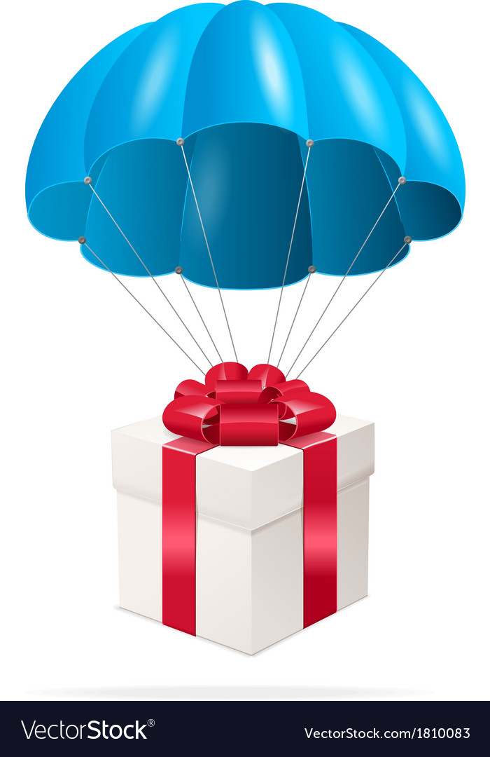 Blue parachute with a gift box vector | Price: 1 Credit (USD $1)