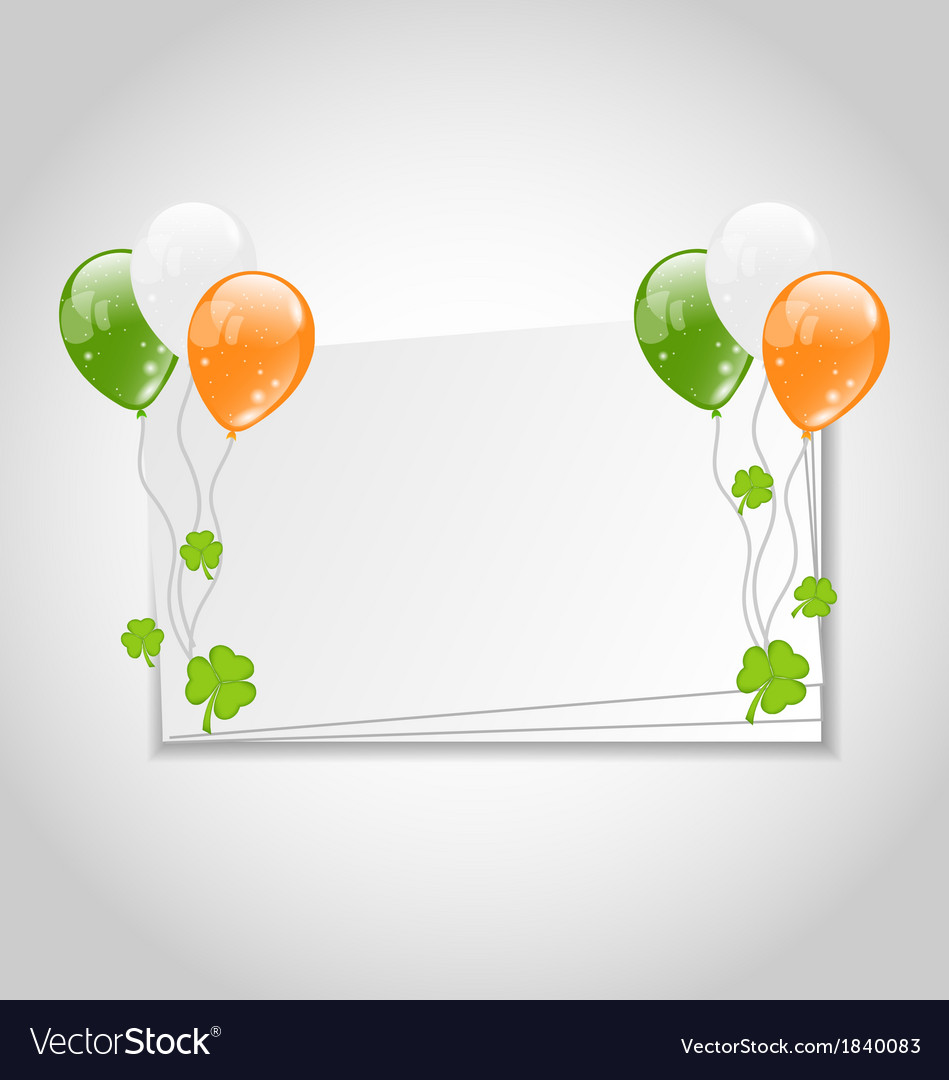 Celebration card with balloons in irish flag color vector | Price: 1 Credit (USD $1)