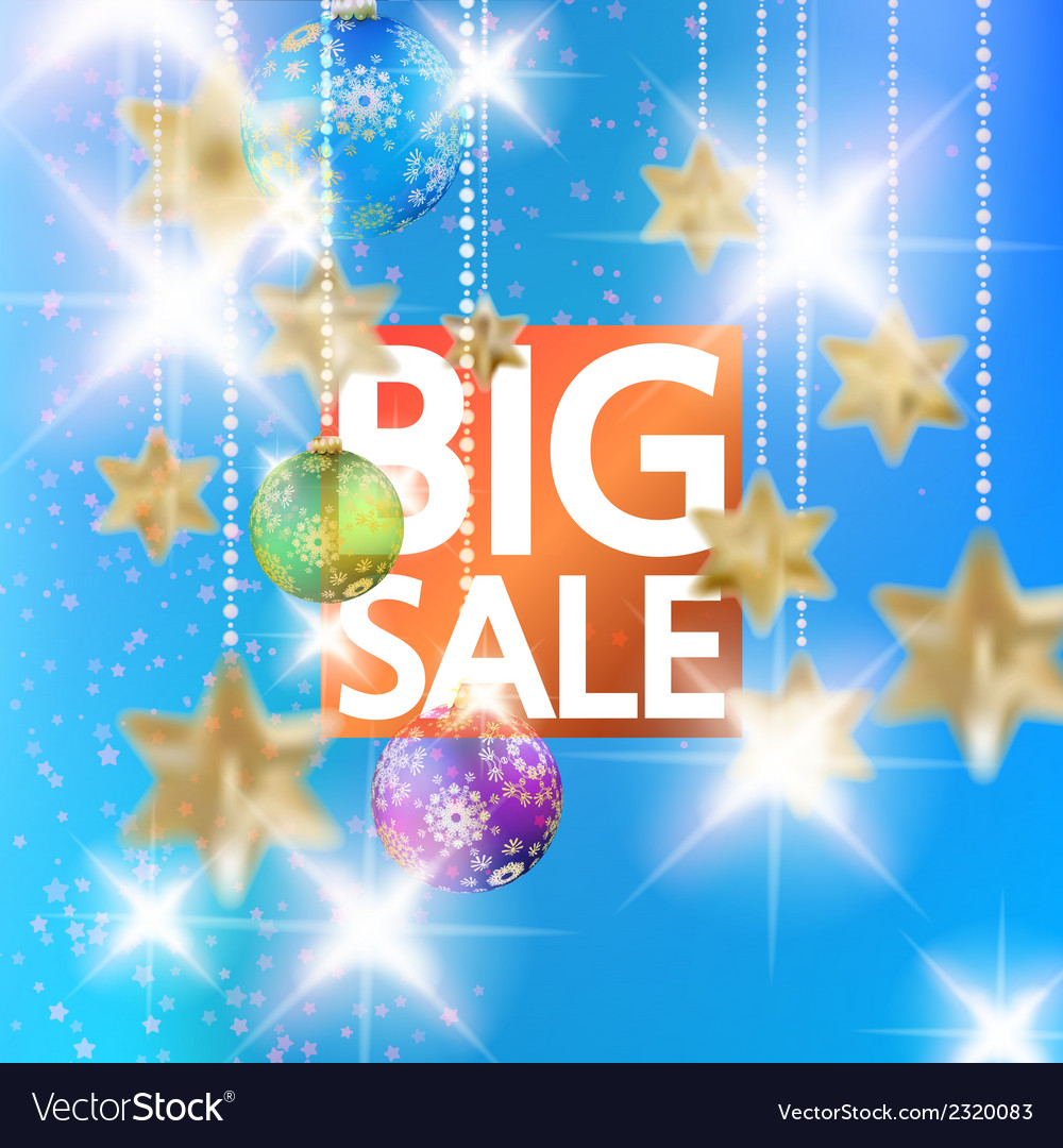 Christmas sale template with gold stars vector | Price: 1 Credit (USD $1)