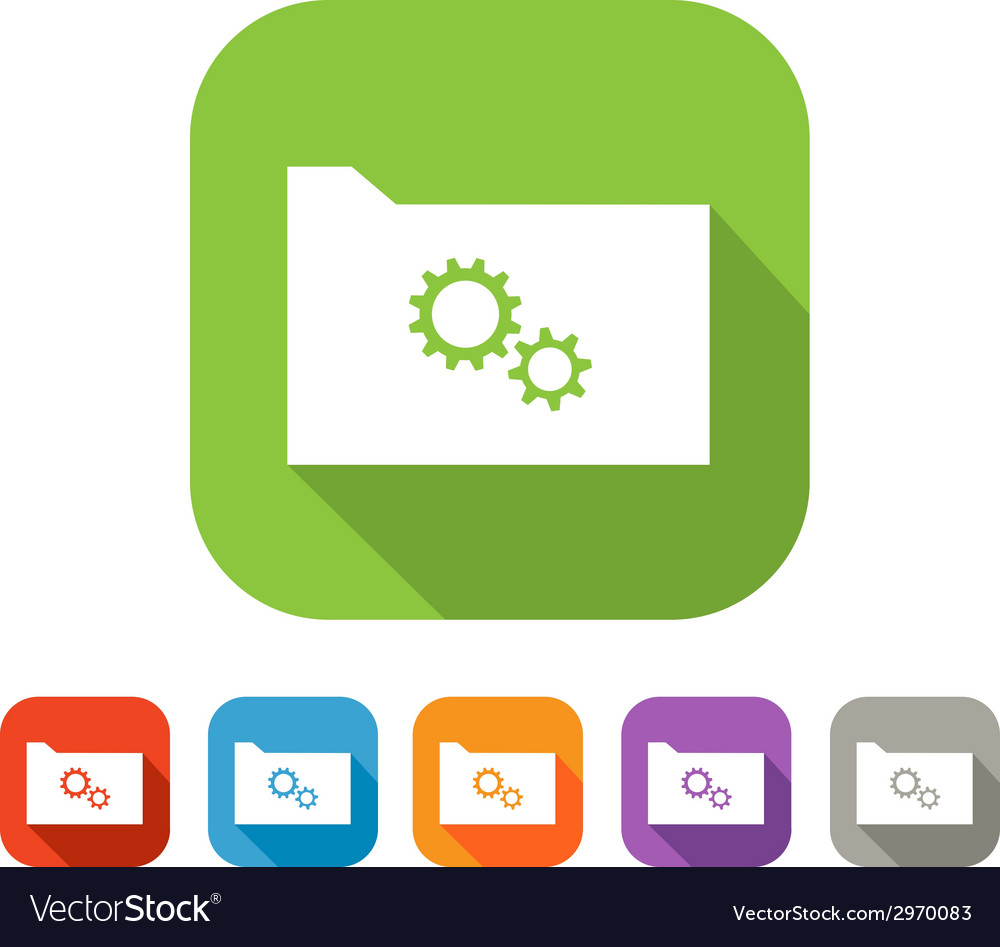 Color set of flat folder with gear wheels vector | Price: 1 Credit (USD $1)