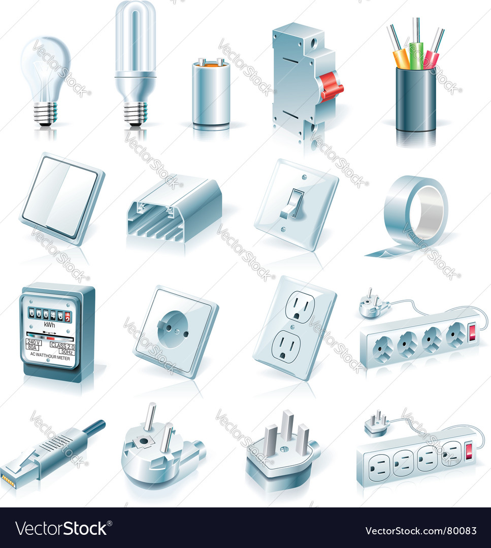 Electrical supplies icon set vector | Price: 5 Credit (USD $5)