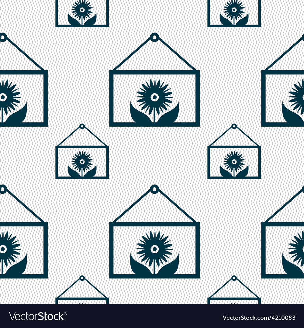 Frame with flower icon sign seamless pattern with vector | Price: 1 Credit (USD $1)
