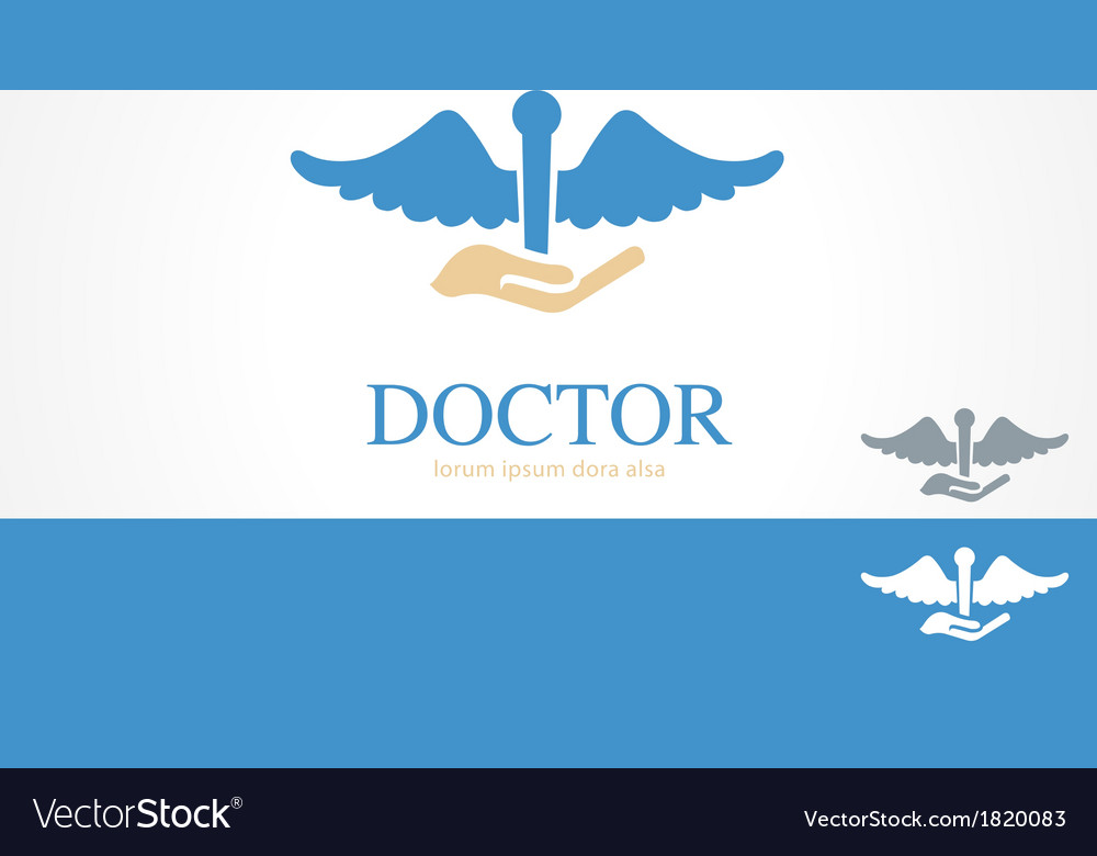 Hand doctor medical health logo concept template vector