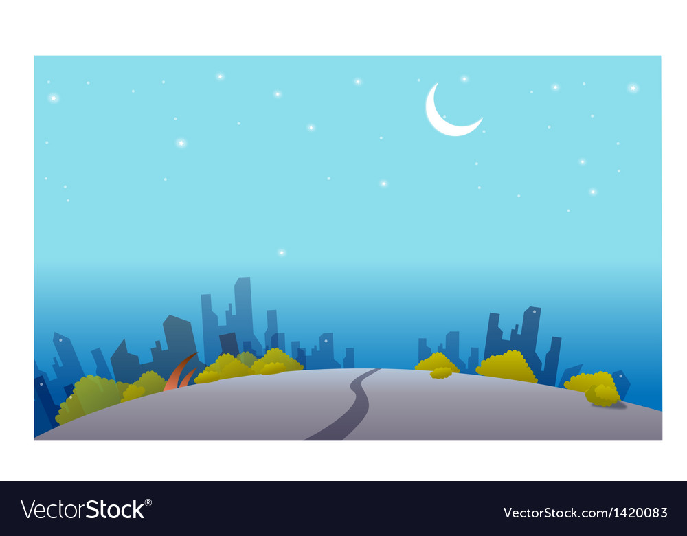Night skyline vector | Price: 1 Credit (USD $1)