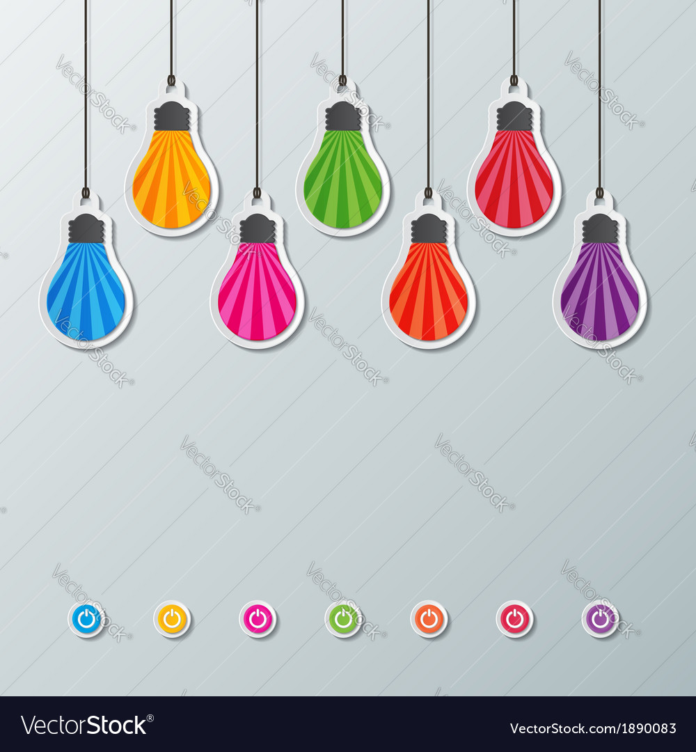 Paper light bulbs vector | Price: 1 Credit (USD $1)