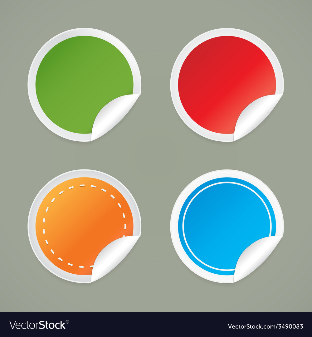 Set of round labels with a curved edge vector | Price: 1 Credit (USD $1)