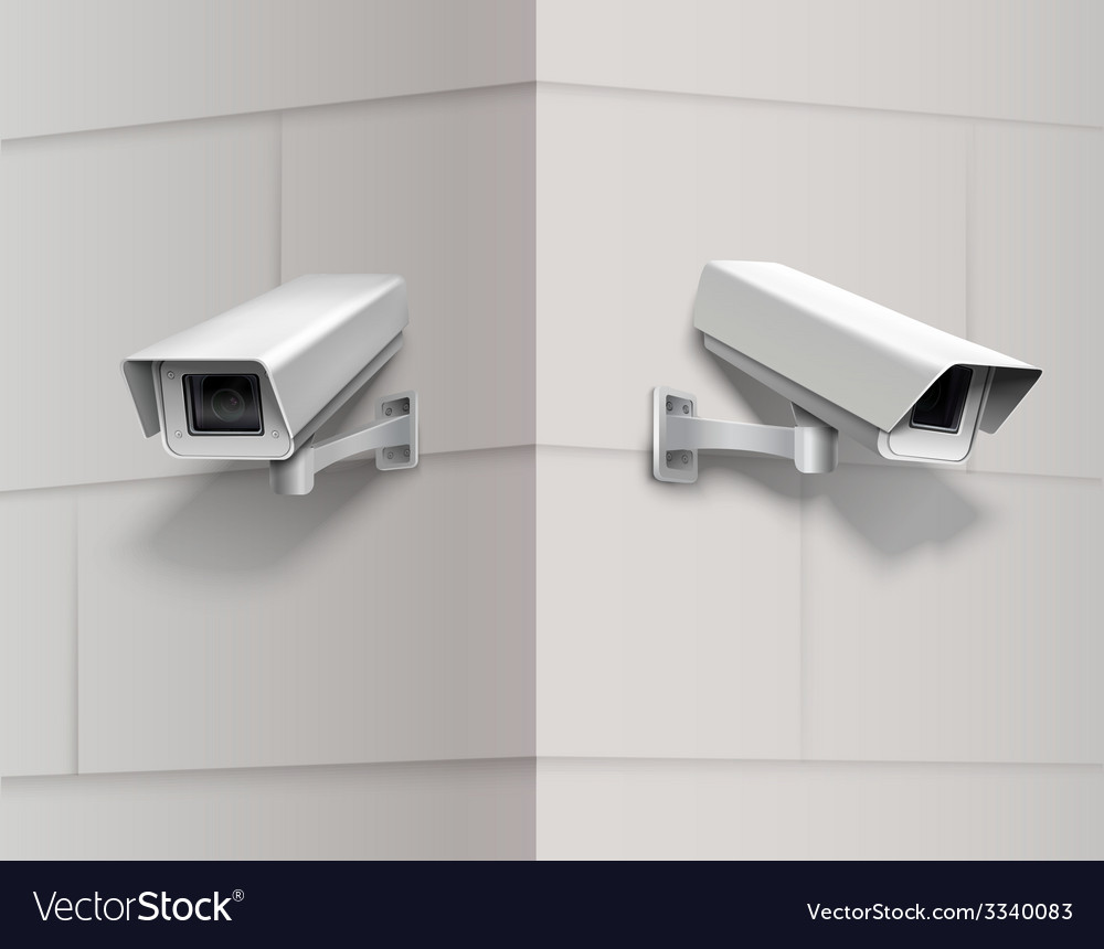Surveillance cameras on wall vector | Price: 1 Credit (USD $1)