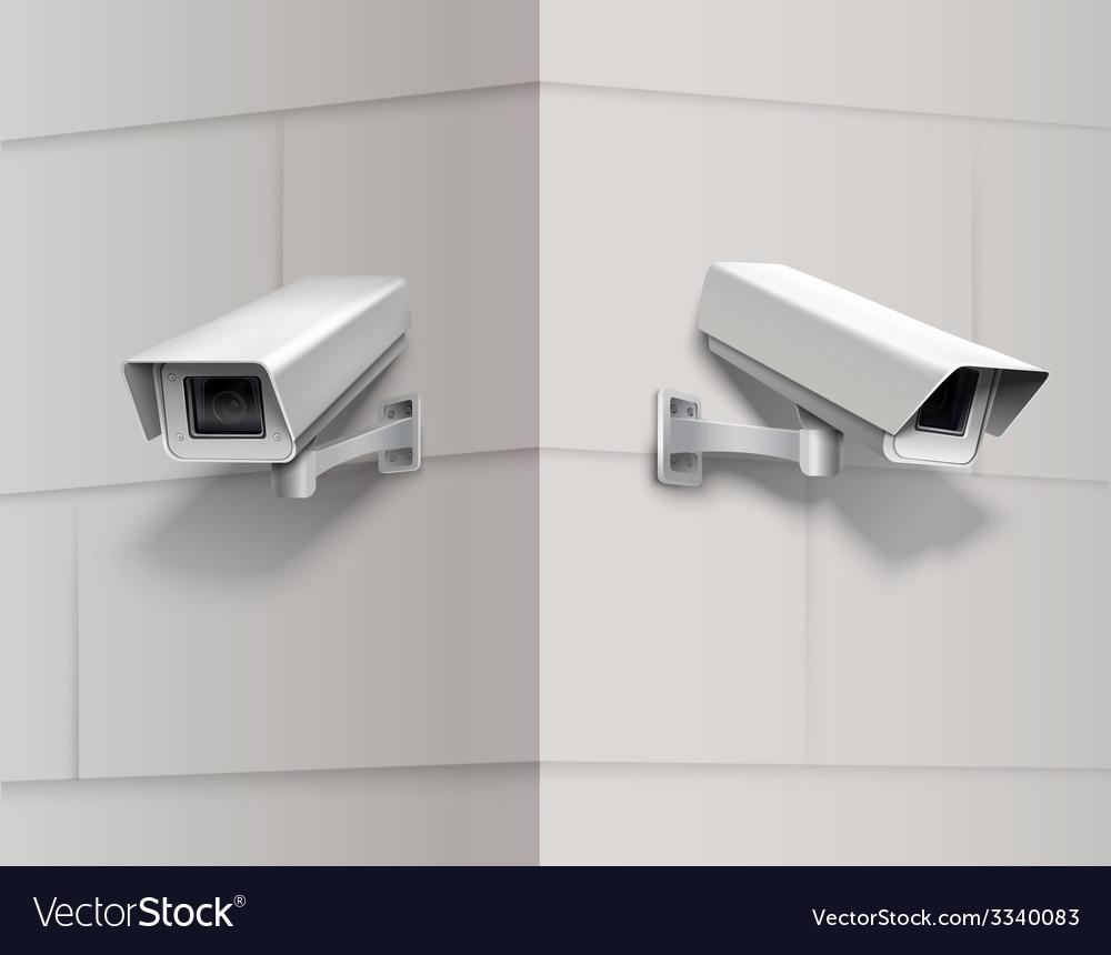 Surveillance cameras on wall vector | Price: 1 Credit (USD $1)