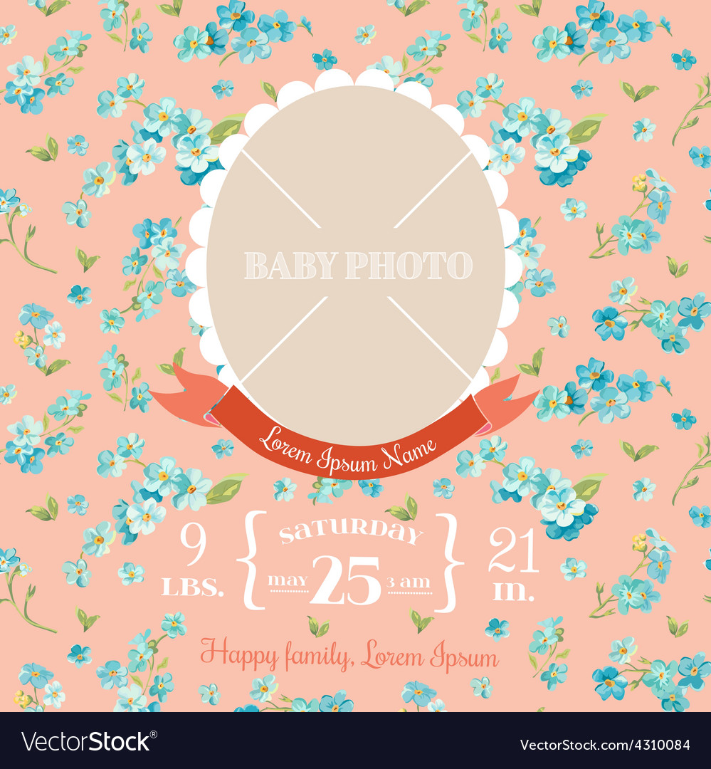 Baby arrival card - with photo frame vector   Price: 1 Credit (USD $1)