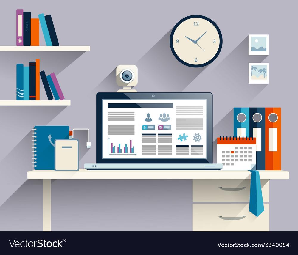 Businessman workplace flat vector | Price: 1 Credit (USD $1)
