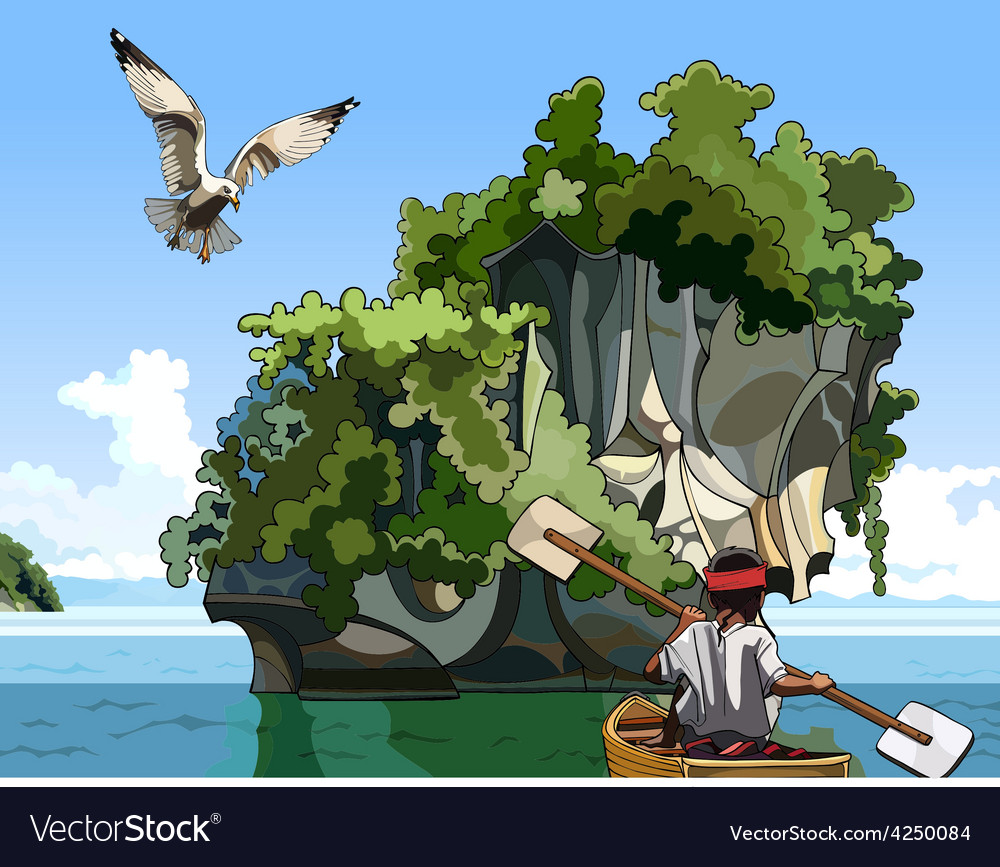 Cartoon landscape fisherman on a boat sailing near vector | Price: 3 Credit (USD $3)