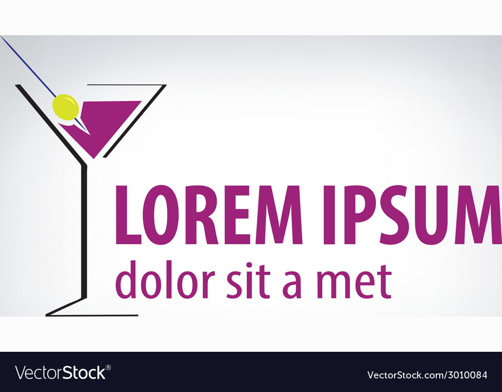 Cocktail party glass design logo vector | Price: 1 Credit (USD $1)