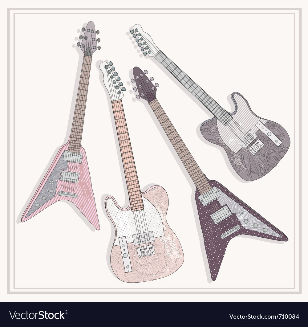 Electric and bass guitars set cute guitars vector | Price: 1 Credit (USD $1)