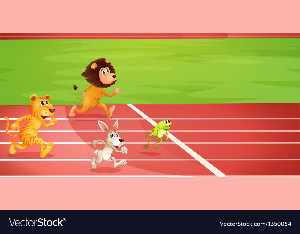 Four animals doing a race vector | Price: 1 Credit (USD $1)