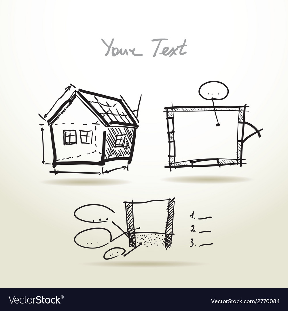 Hand drawn house plan sketch project for your vector | Price: 1 Credit (USD $1)