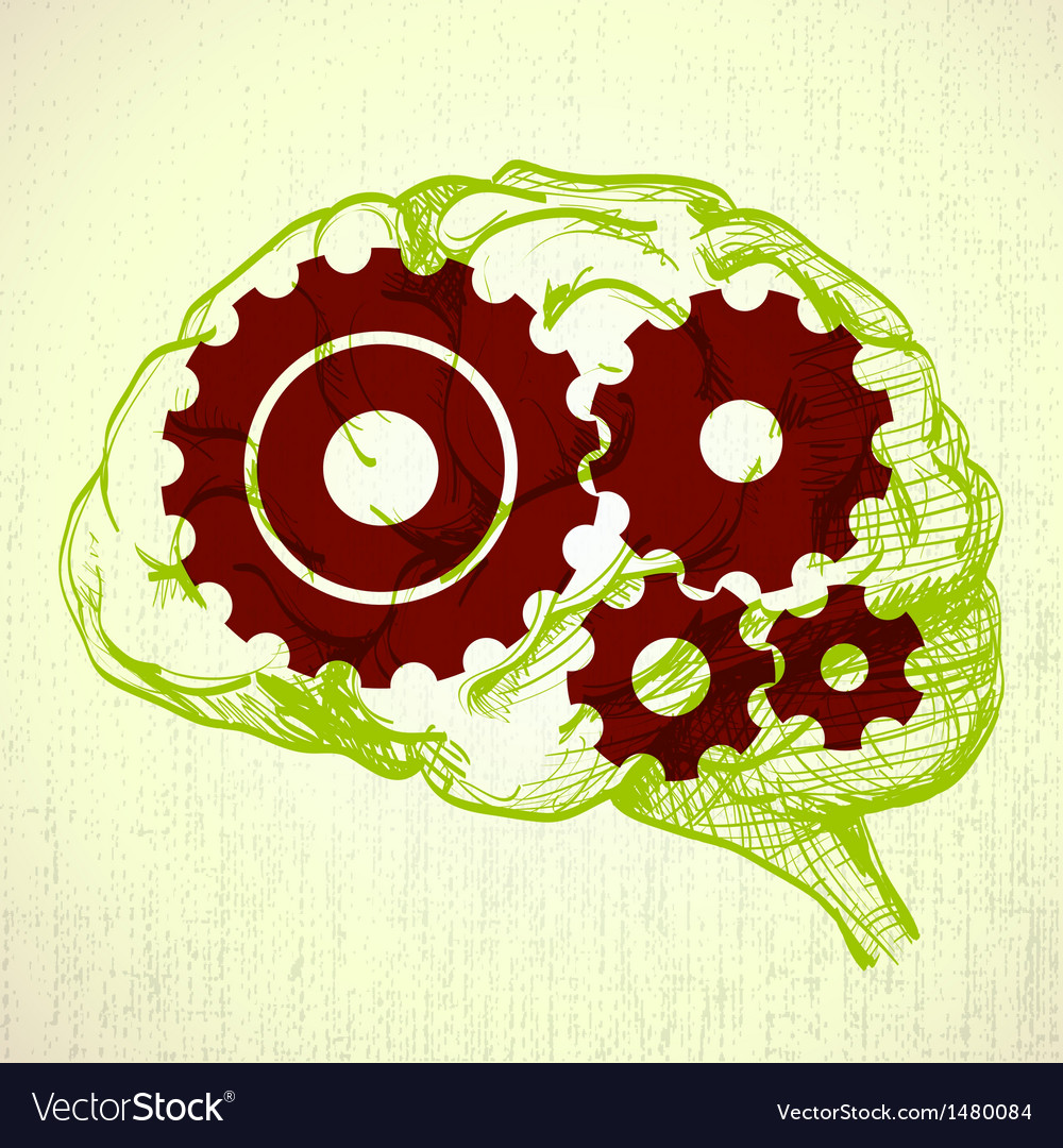 Human brain with cogs vector | Price: 1 Credit (USD $1)