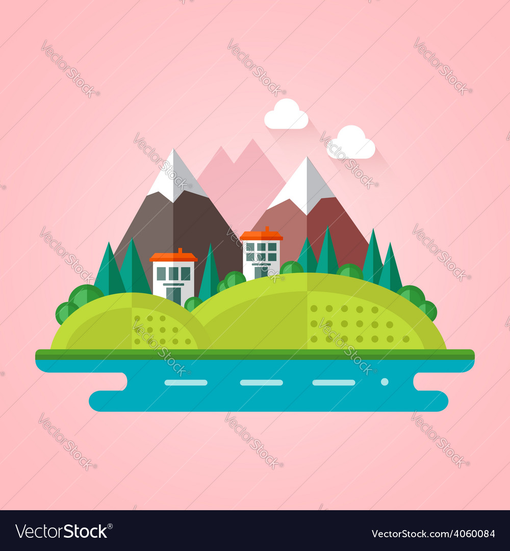 Landscape flat icon vector | Price: 1 Credit (USD $1)