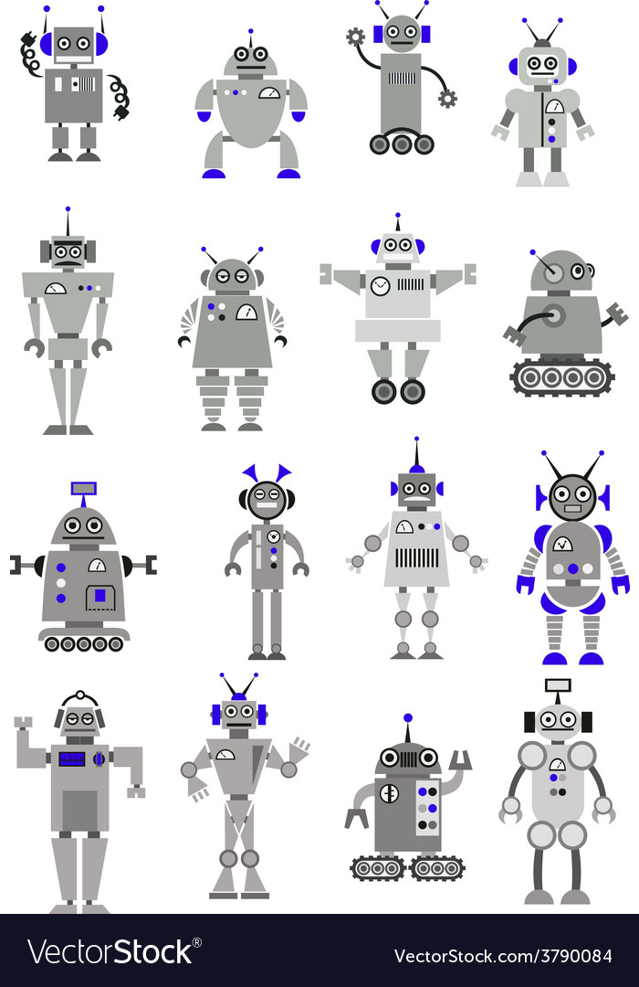 Large black and white set of toy robots or aliens vector | Price: 1 Credit (USD $1)