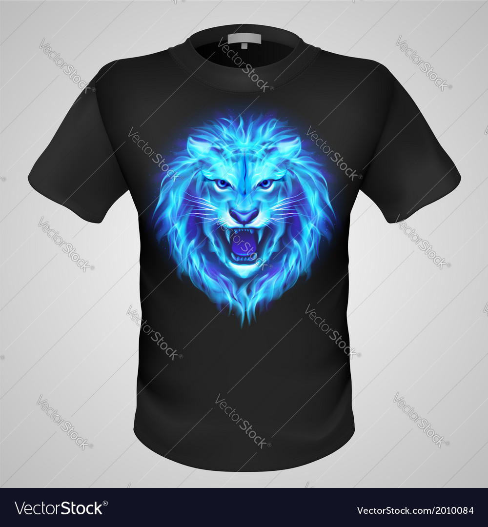 Male tshirt with lion print vector   Price: 1 Credit (USD $1)