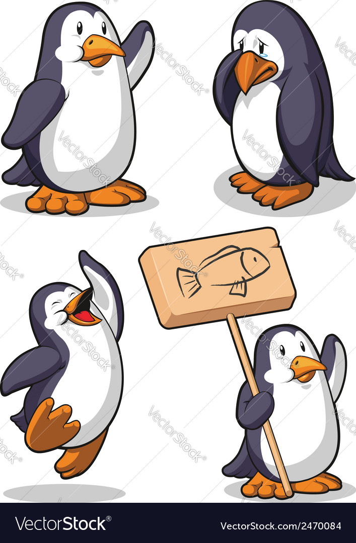 Penguin in several poses happy sad jumping vector | Price: 1 Credit (USD $1)