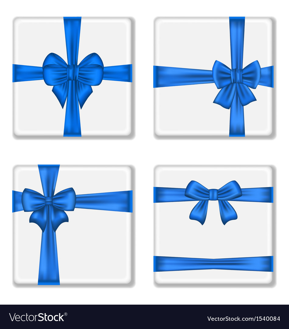 Set gift boxes with blue bows vector | Price: 1 Credit (USD $1)