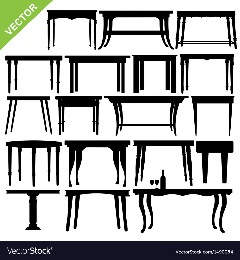 Table silhouettes vector | Price: 1 Credit (USD $1)