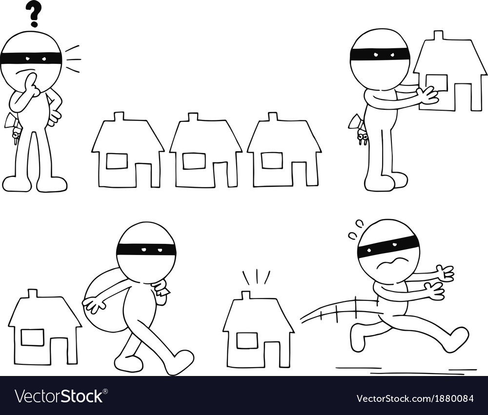 Thief cartoon set vector | Price: 1 Credit (USD $1)