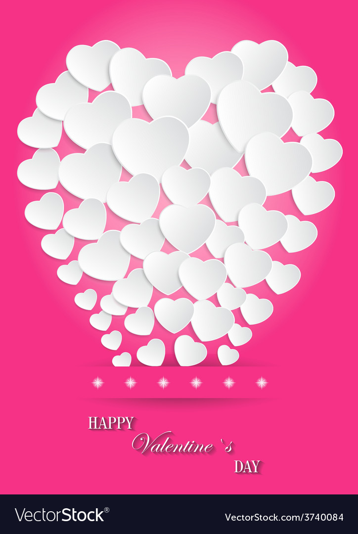Valentines day of white paper heart balloons on vector | Price: 1 Credit (USD $1)
