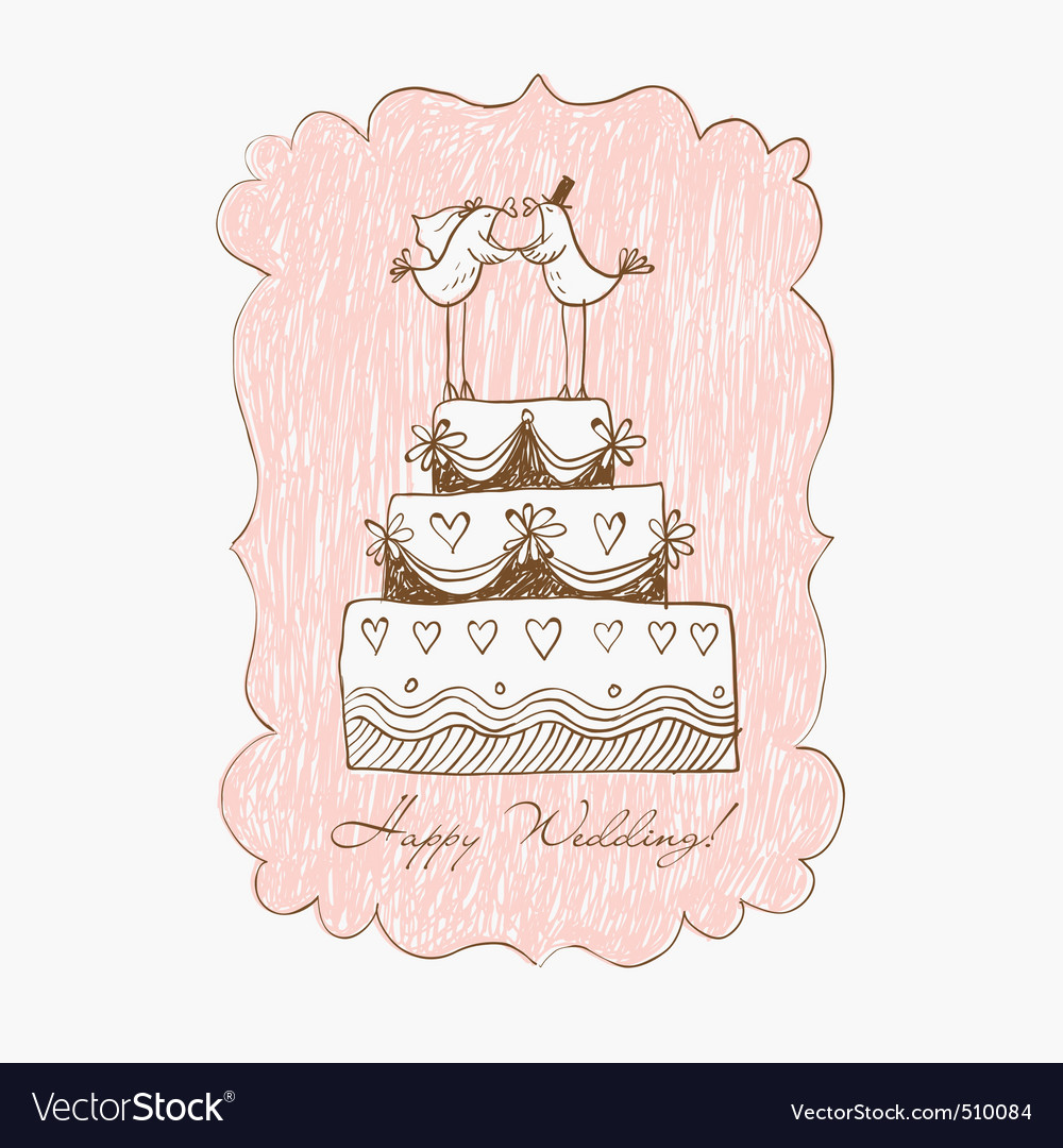 Wedding cake hand draw vector | Price: 1 Credit (USD $1)