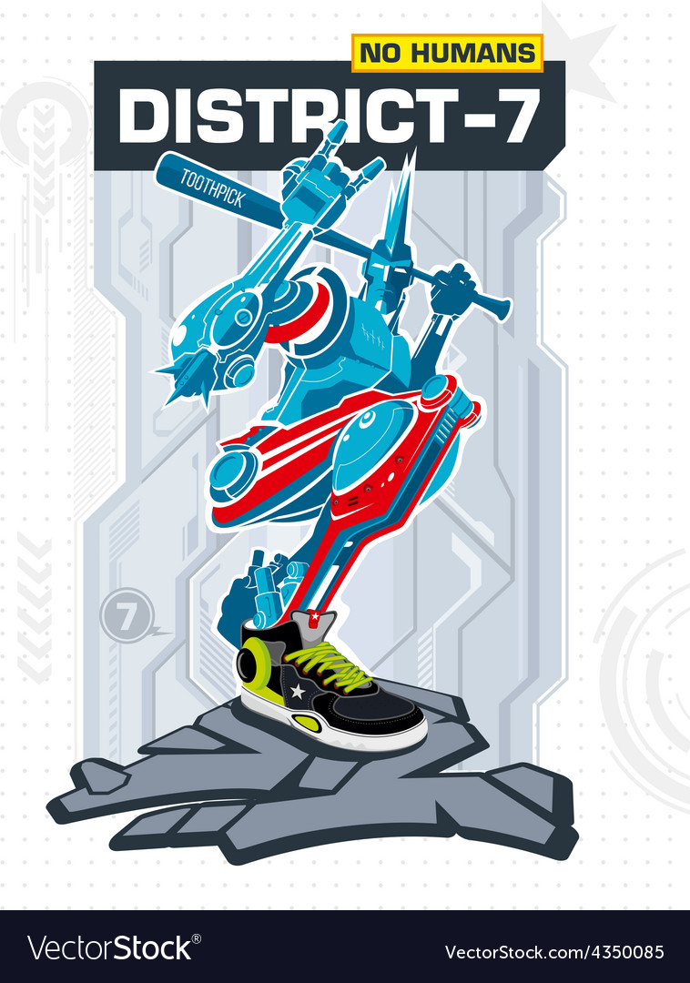 Armed robot from district 7 vector | Price: 3 Credit (USD $3)