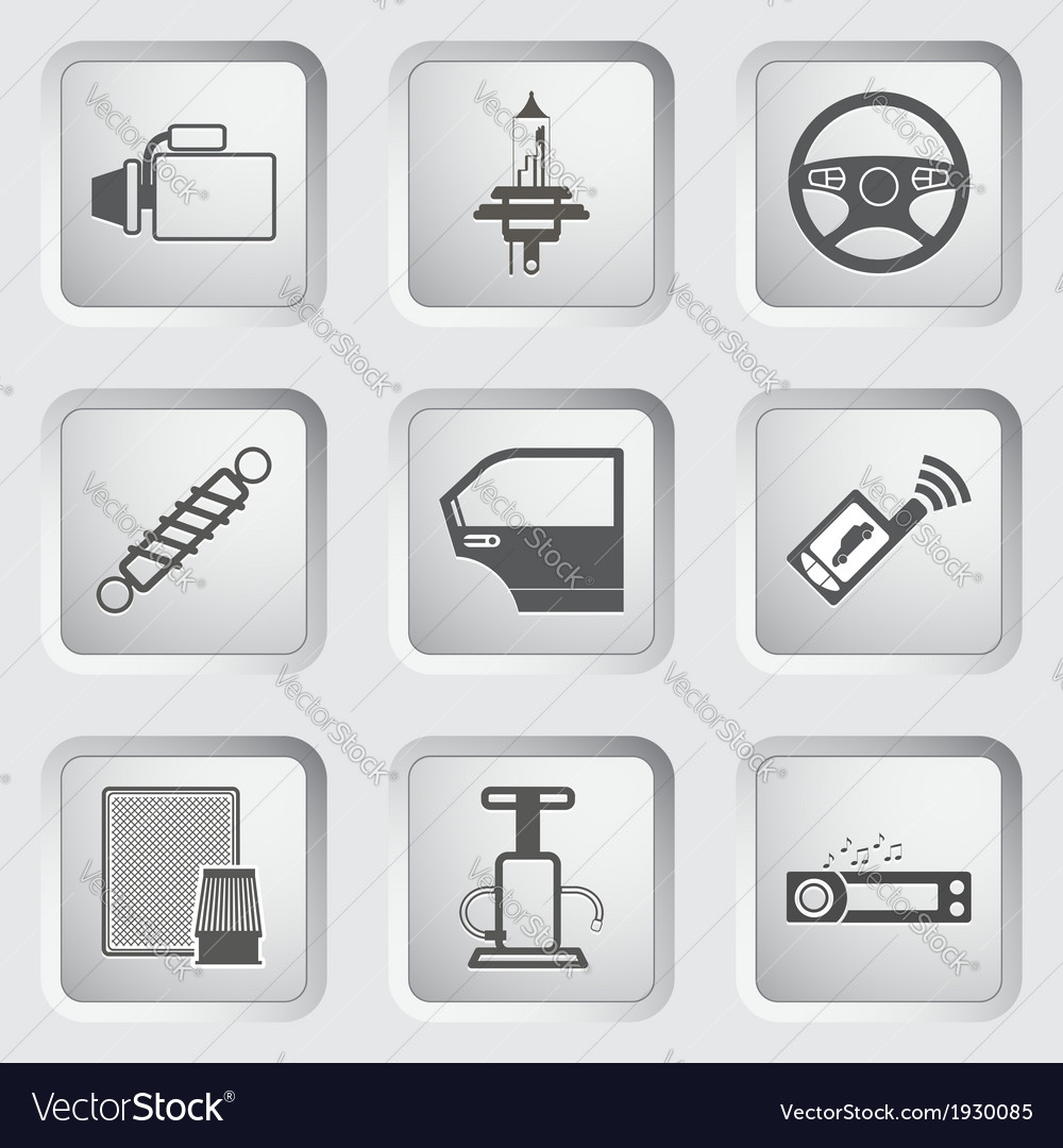 Car part and service icons set vector | Price: 1 Credit (USD $1)