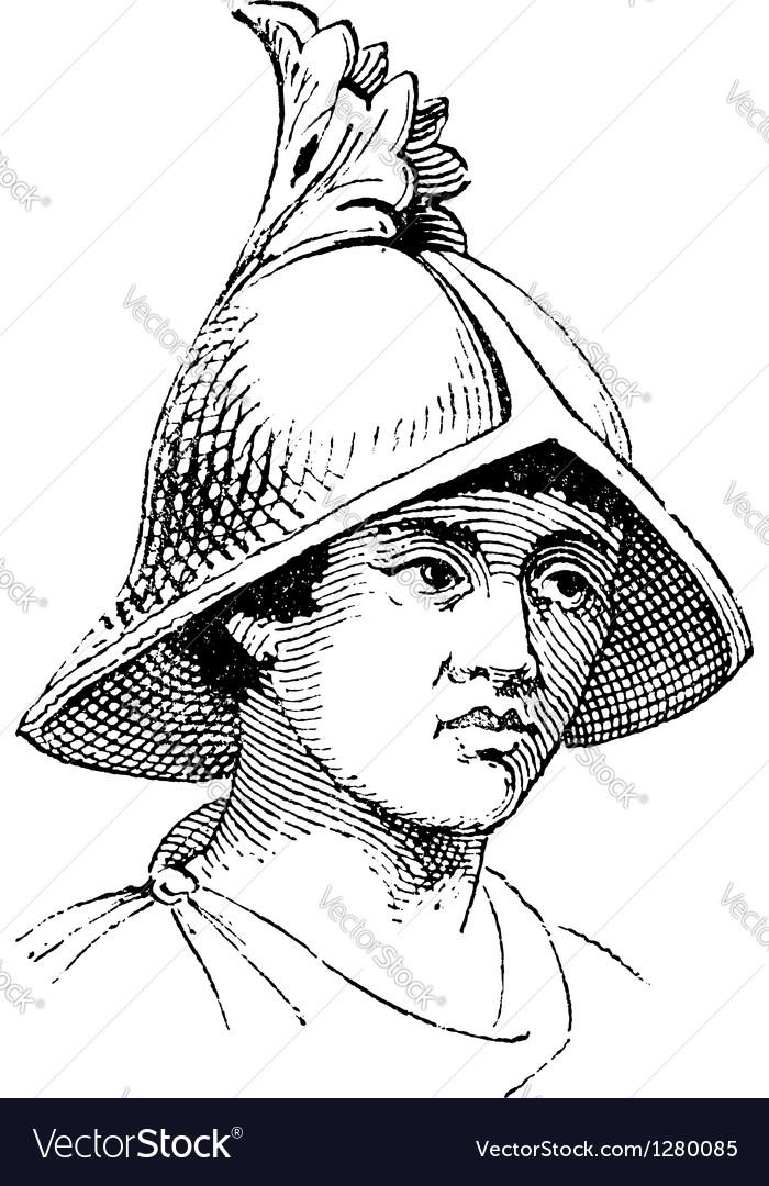 Carlovingian helmet vintage engraving vector | Price: 1 Credit (USD $1)
