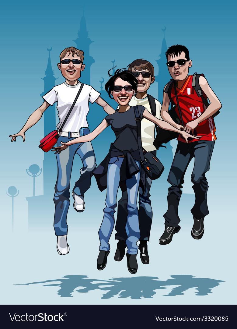 Cartoon company teen friends joyfully jump vector | Price: 5 Credit (USD $5)