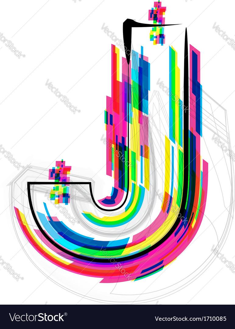 Colorful font letter j vector | Price: 1 Credit (USD $1)