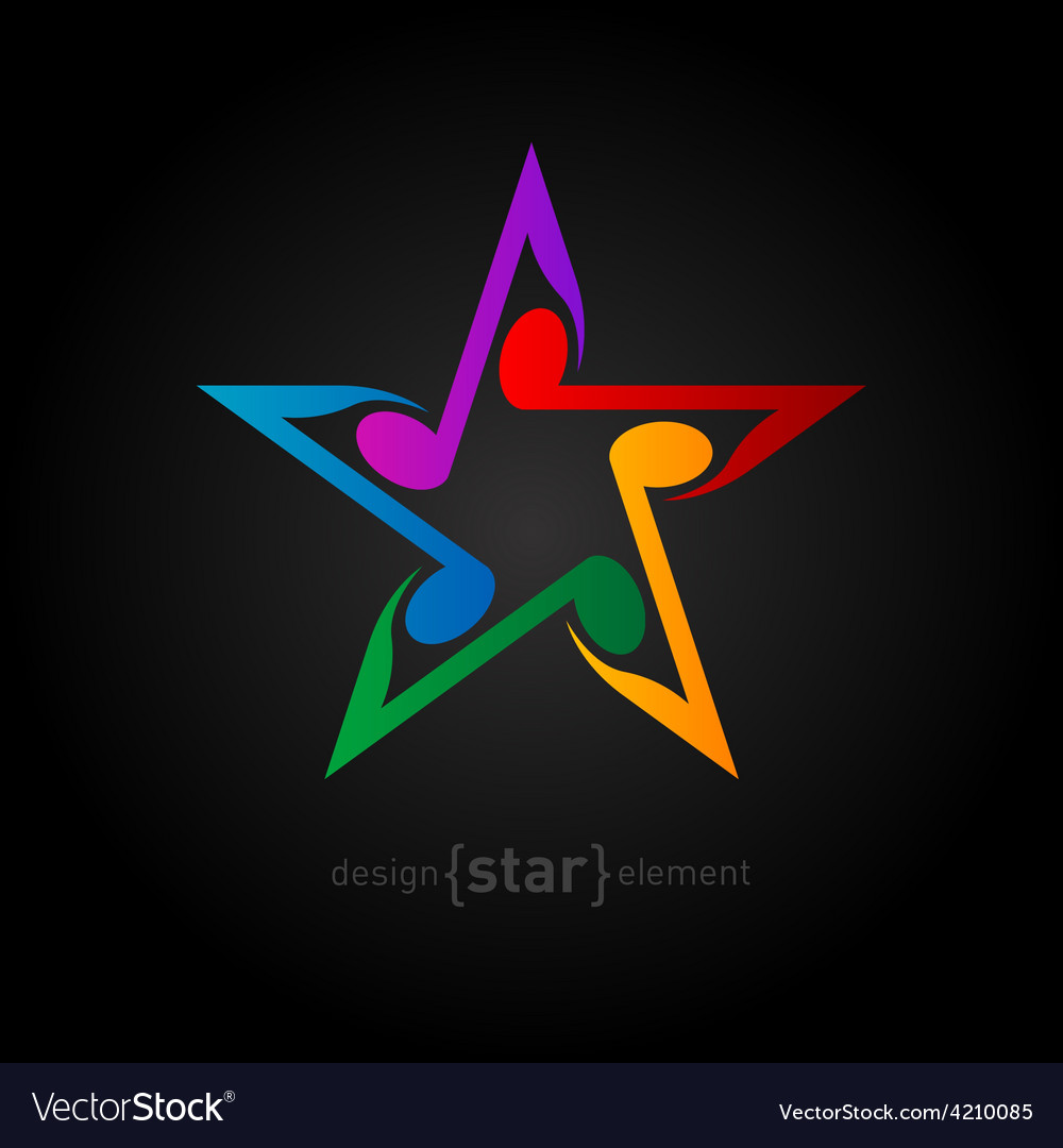 Colorful star with wavy notes on black background vector | Price: 1 Credit (USD $1)