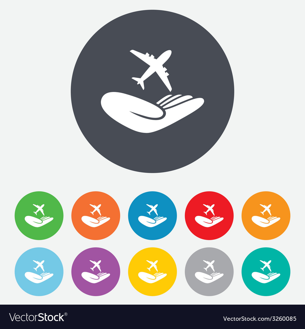 Flight insurance sign hand holds plane vector | Price: 1 Credit (USD $1)
