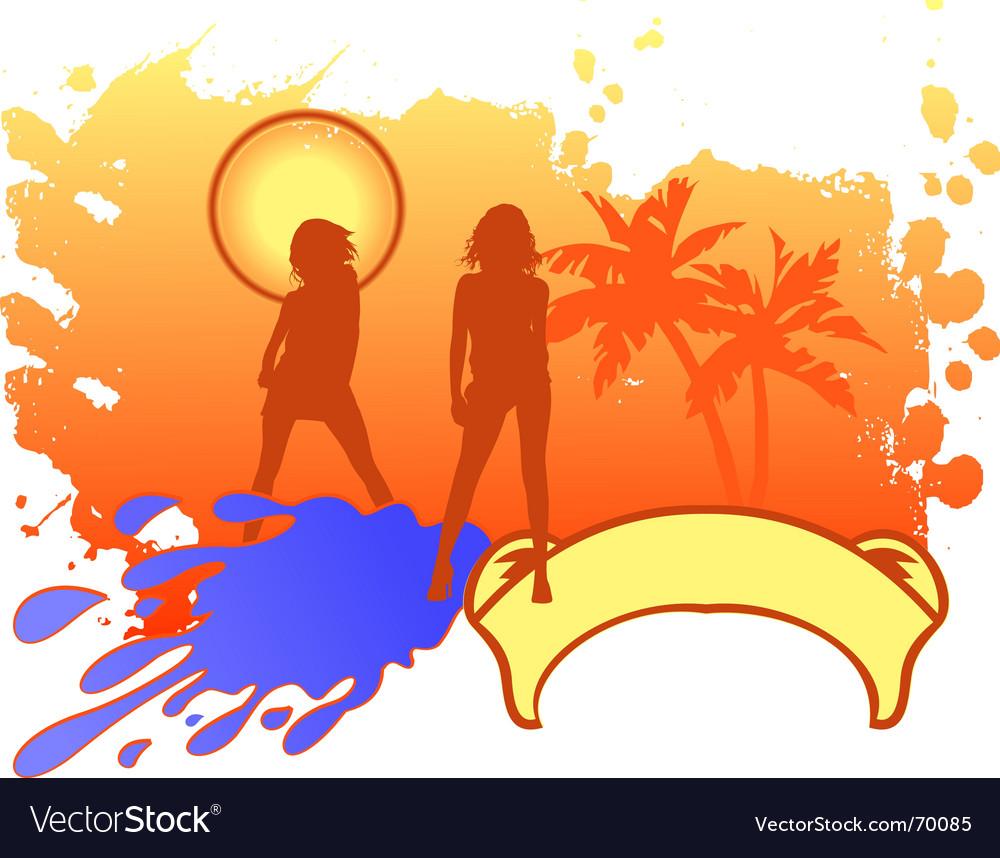Girls vacation logo vector   Price: 1 Credit (USD $1)
