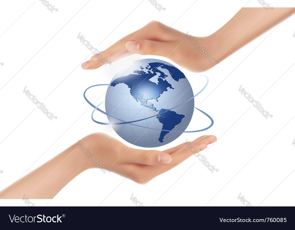 Hands holding globe vector | Price: 3 Credit (USD $3)