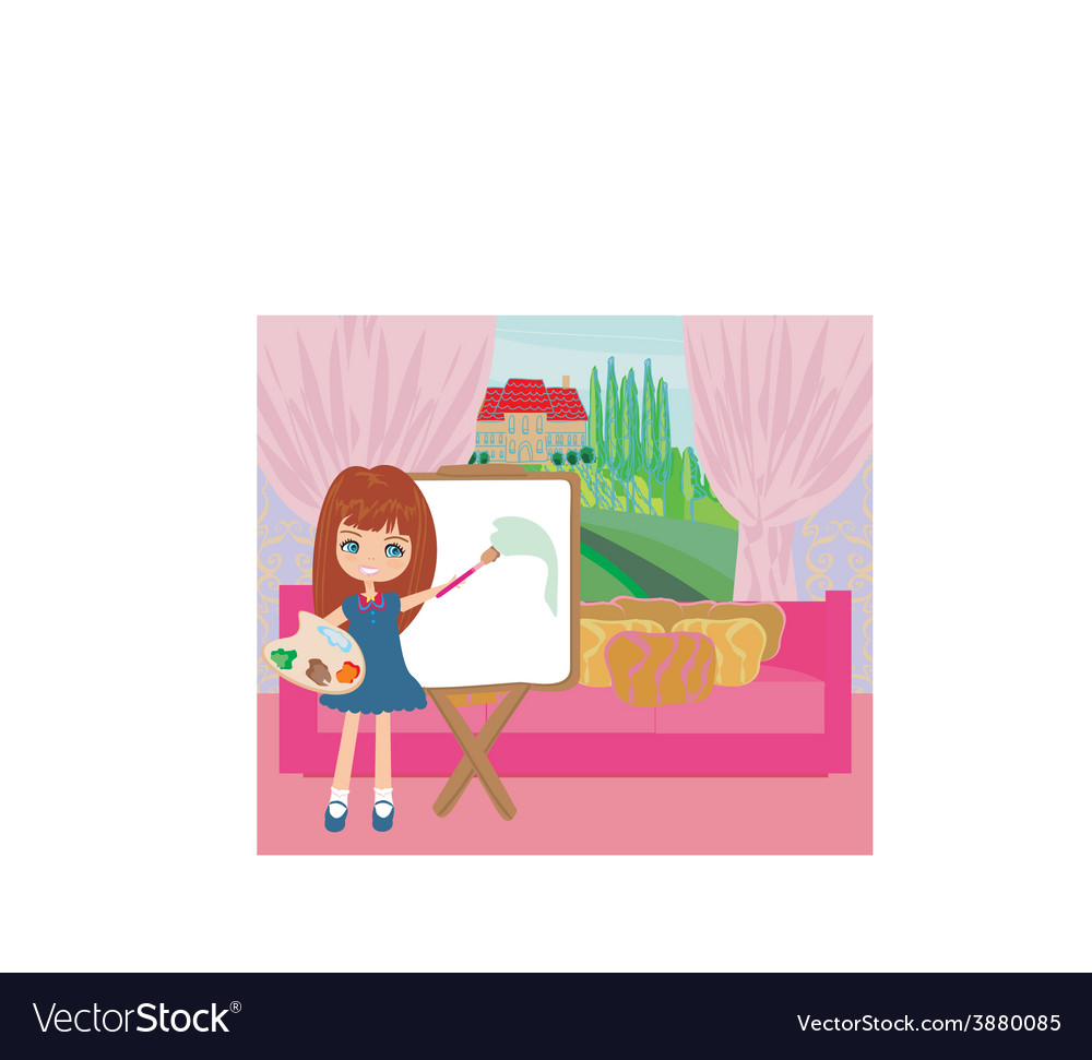 Little artist girl painting landscape from the vector | Price: 1 Credit (USD $1)