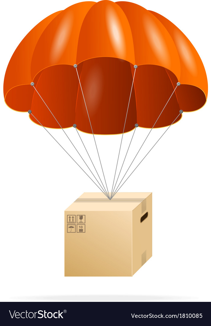 Red parachute with cardboard box on a white vector | Price: 1 Credit (USD $1)