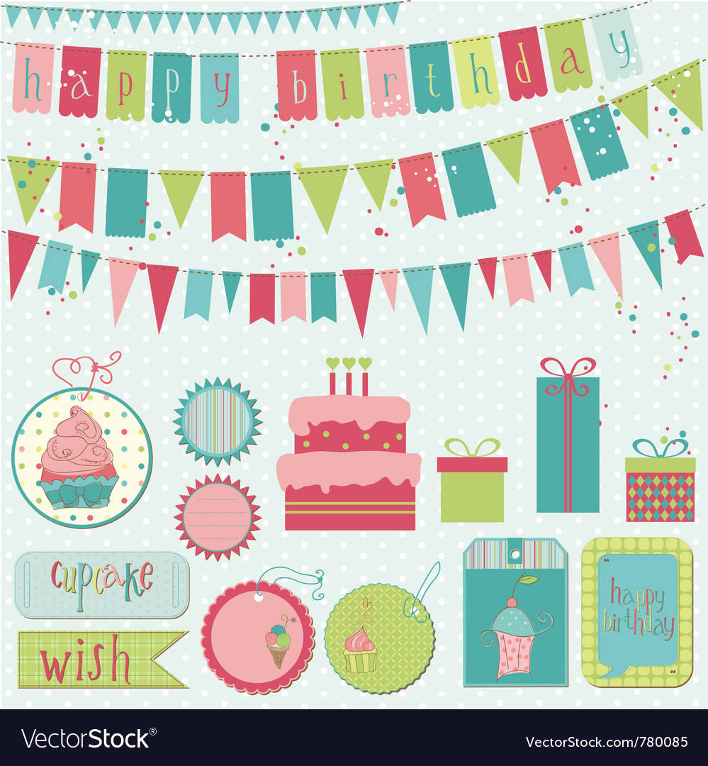 Retro birthday celebration vector | Price: 1 Credit (USD $1)