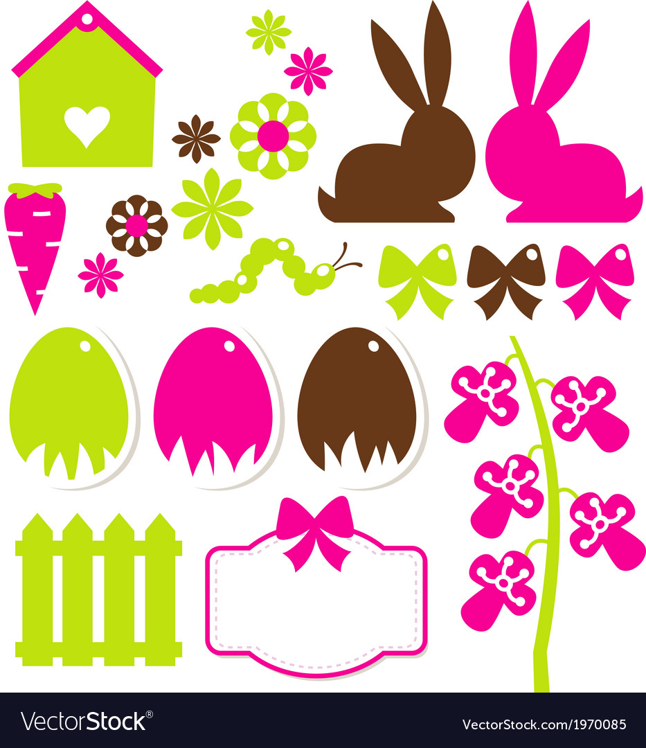 Spring easter elements isolated on white vector | Price: 1 Credit (USD $1)