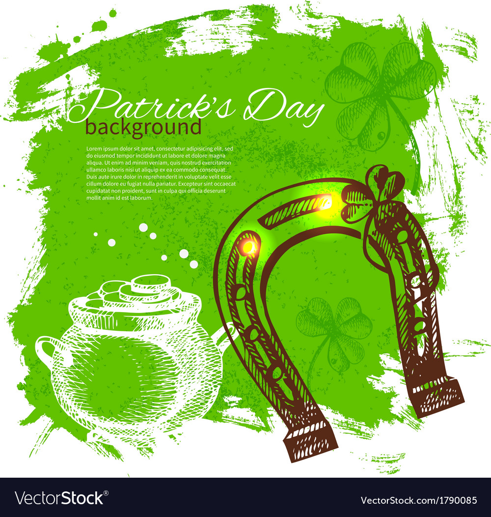 St patricks day background with hand drawn sketch vector   Price: 1 Credit (USD $1)