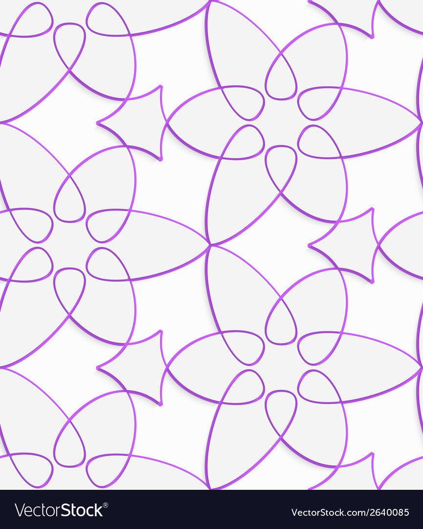 White floristic swirl with purple outline seamless vector | Price: 1 Credit (USD $1)