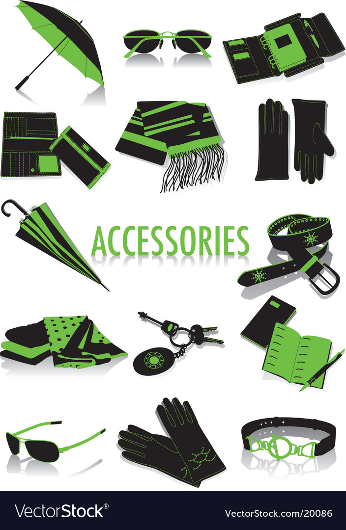 Accessories silhouettes vector | Price: 1 Credit (USD $1)