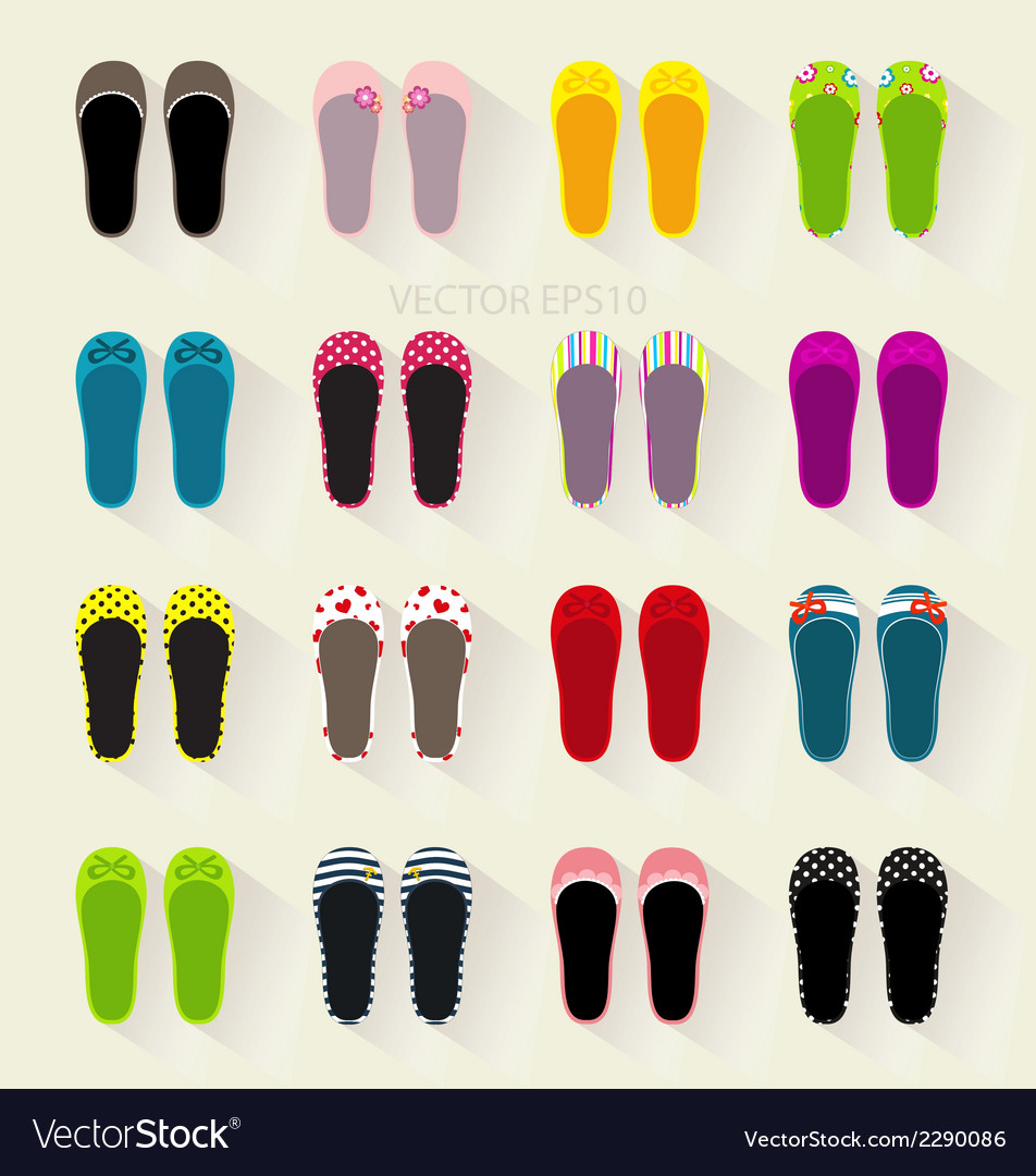 Ballerina shoes flat colorful set vector | Price: 1 Credit (USD $1)