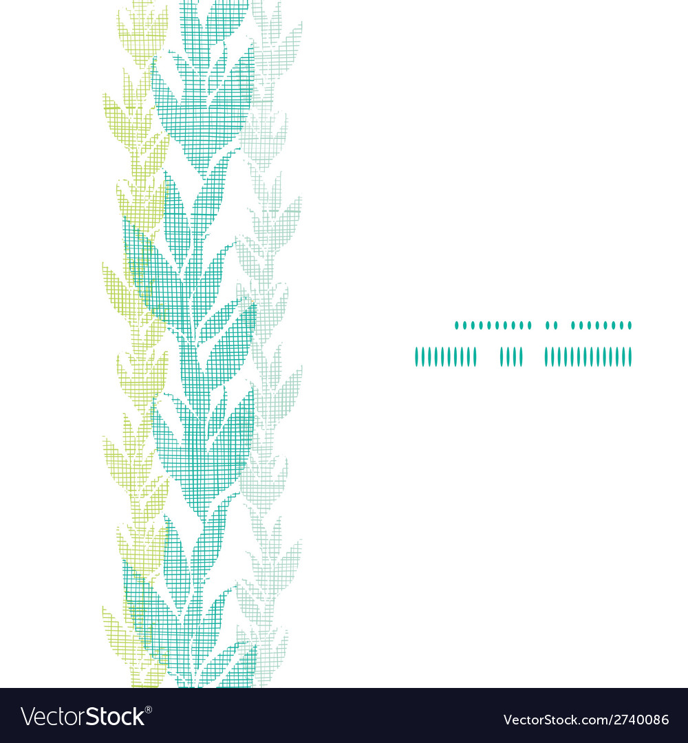 Blue green seaweed vines vertical frame seamless vector | Price: 1 Credit (USD $1)